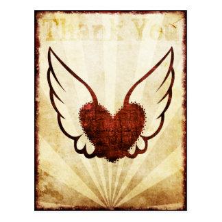 Het rode Gevleugelde Hart van het Tattoo dankt u Briefkaart