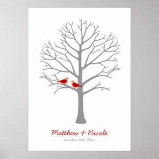 Het rode Grijze Huwelijk van de Boom van de Vinger Poster