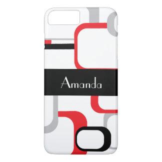 Het rode Grijze Zwarte Witte Retro Vierkant iPhone 8/7 Plus Hoesje