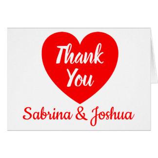 Het rode Hart dankt u Huwelijk, de Liefde van het Briefkaarten 0