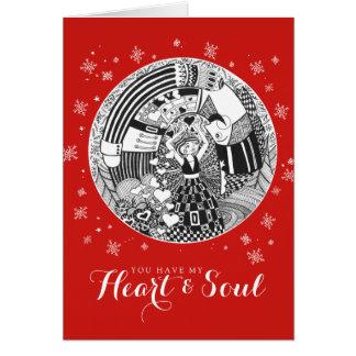 Het rode Hart & de Ziel van Valentijn van het Briefkaarten 0