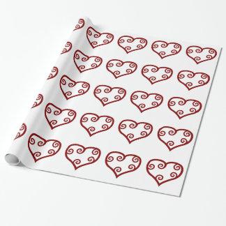 Het rode Hart van de Valentijnsdag van de Stijl Inpakpapier