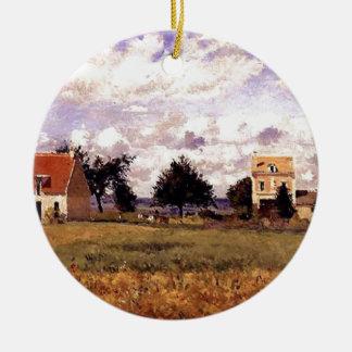 Het rode Huis door Camille Pissarro Rond Keramisch Ornament