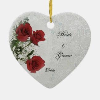 Het rode Lijst van de Foto van het Huwelijk van Keramisch Hart Ornament