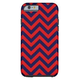 Het rode, Marineblauwe Grote Patroon van de Zigzag Tough iPhone 6 Hoesje