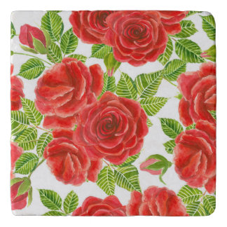 Het rode naadloze patroon van de rozenwaterverf trivet