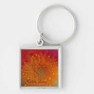 Het rode Oranje Pop-art van Gerbera Daisy Zilverkleurige Vierkante Sleutelhanger
