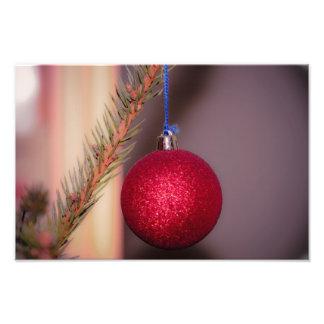 Het rode ornament van de Kerstboom Fotoafdrukken