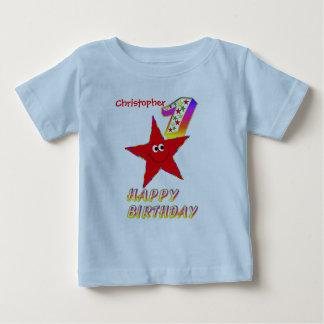 Het rode Overhemd van de Verjaardag van de Ster Baby T Shirts