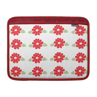 Het rode Patroon van Bloemen MacBook Sleeves