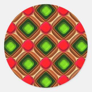 Het rode Patroon van de Gem Ronde Sticker