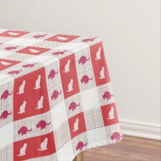 Het rode Patroon van de Kat van het Schaakbord Tafelkleed
