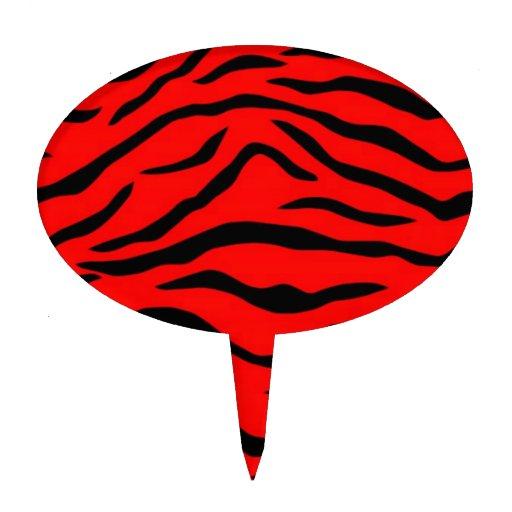 Het rode Patroon van de Tijger Taart Prikker