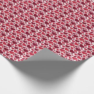 Het rode Patroon van Harten Inpakpapier