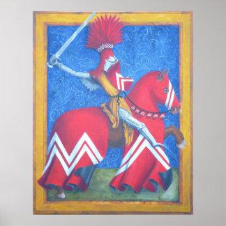Het rode Poster van de Ridder
