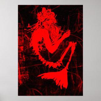 Het rode Poster van het Skelet van de Meermin