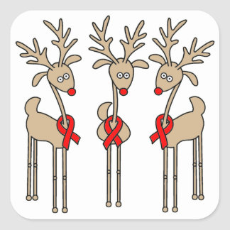 Het rode Rendier van het Lint - AIDS & HIV Vierkante Sticker