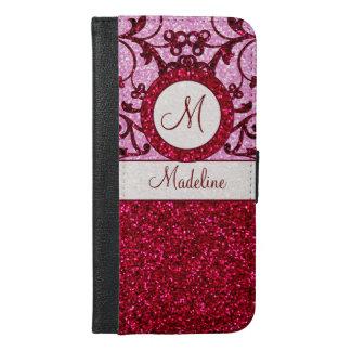 Het rode roze schittert iphone6 monogramhoesje iPhone 6/6s plus portemonnee hoesje