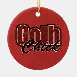 Het rode Spreuk van het Kuiken van de Gothic van Rond Keramisch Ornament