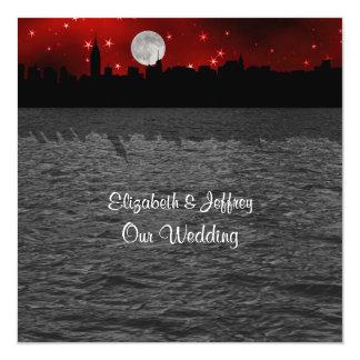 Het Rode SQ Huwelijk van de Maan van het Silhouet Kaart