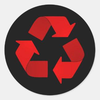 Het rode Symbool van het Recycling Ronde Stickers