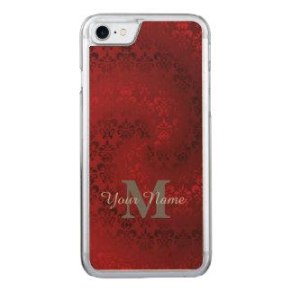 Het rode vintage patroon van het damastmonogram Carved iPhone 8/7 hoesje
