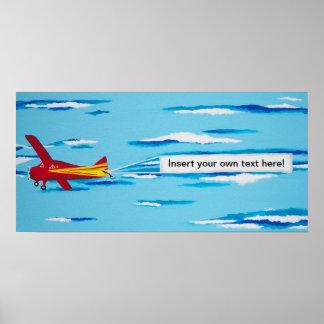 Het rode Vliegtuig van de Banner Afdruk