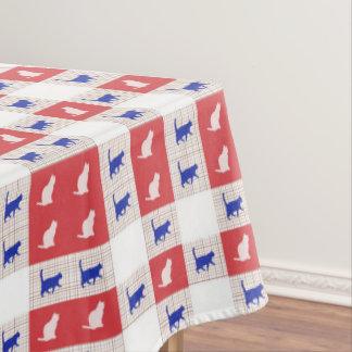 Het rode, Witte & Blauwe Patroon van de Kat van Tafelkleed
