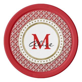 Het rode Witte Elegante Abstracte Patroon van Pokerchips
