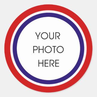 Het rode Witte en Blauwe Lijst van de Foto Ronde Sticker