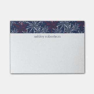 Het rode Witte en Blauwe Patroon van het Vuurwerk Post-it® Notes