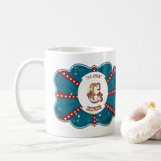 """Het rode Witte en Blauwe Vintage Monogram """"G """" van Koffiemok"""