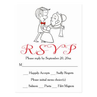 Het rode Zwart-witte Huwelijk van de Bruid RSVP & Briefkaart