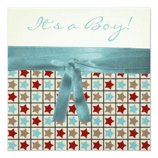 Het rode Zwarte Blauwgroen Blauwe Bruine Baby 13,3x13,3 Vierkante Uitnodiging Kaart
