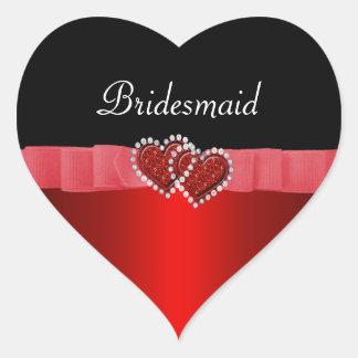 Het rode & Zwarte Huwelijk van de Harten van het Hart Sticker