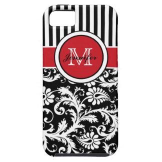 Het Rode Zwarte Witte Gestreepte Damast van het mo iPhone 5 Hoesjes