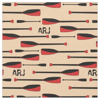 Het Roeien van het monogram het Rood van Stof