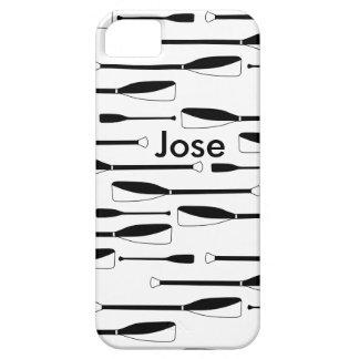 Het Roeien van het monogram Zwart-witte Roeispanen Barely There iPhone 5 Hoesje