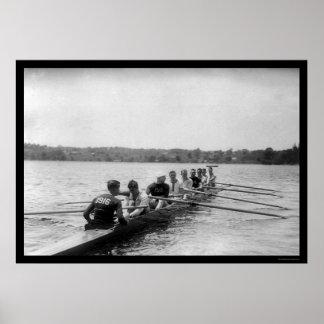 Het Roeien van Yale het Rennen Shell 1915 Poster