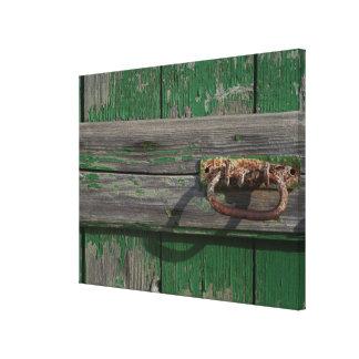 Het roestige Handvat van de Deur op Groene Deur Canvas Print