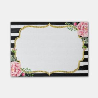 Het romantische Roze Bloemen Gouden Lijst van de Post-it® Notes
