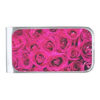 Het romantische Roze Paarse Patroon van Rozen Verzilverde Geldclip