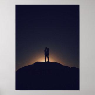 Het romantische silhouet van de Kus Poster