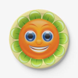 Het ronde Gepersonaliseerde Gezicht van Smiley van Papieren Bordje