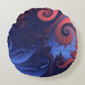 Het rood en de indigo blauwe tentakels van het rond kussen
