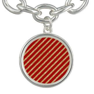 Het rood en het Goud schitteren het Diagonale Bedel Armband