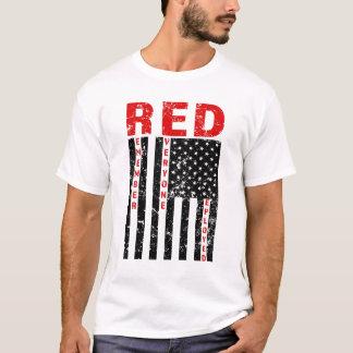 Het ROOD herinnert iedereen het Opgestelde mannen T Shirt
