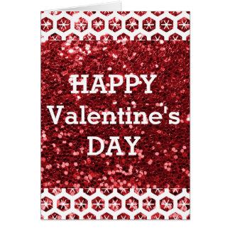 Het rood schittert Gelukkige Valentijnsdag Kaart