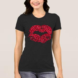Het rood schittert het Overhemd van Lippen T Shirt