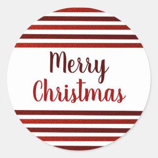 Het rood schittert Vrolijke Kerstmis van Strepen Ronde Sticker